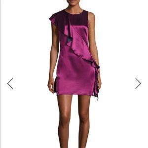 Diane von Furstenberg SleevelessRuffle Satin Dress